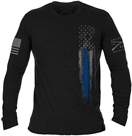 Grunt Style Blue Line Flag Long Sleeve Black XX Large product image