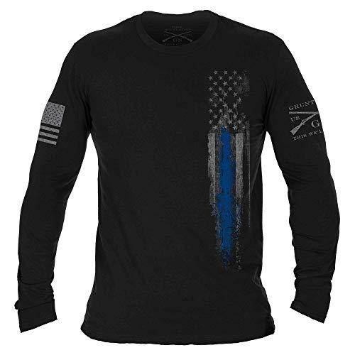 Grunt Style Blue Line Flag - Long Sleeve (Black, Small)