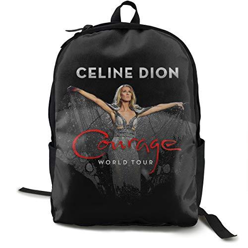 N / A Celine Dion Tour 2019-2020 Classic Backpack Schoolbag Black Bag Polyester Unisex School Work Travel