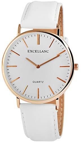 Excellanc Damen - Uhr Lederimitat Armbanduhr Dornschließe Analog Quarz 1900029 (Weiß)