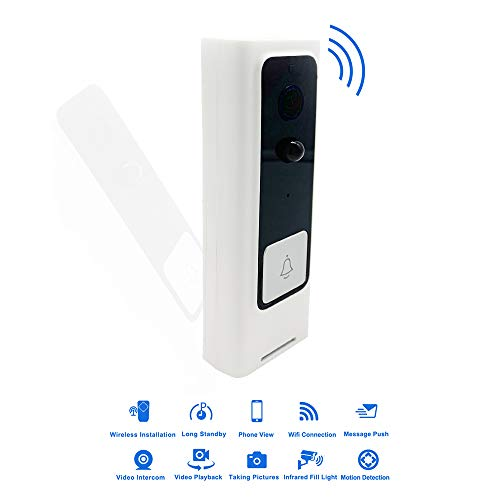 Timbre de video WIFI, Inteligente 720P Cámara Seguridad Timbre Con Ranura Micro SD, Conversación y Video Bidireccional, Detección de Movimiento PIR