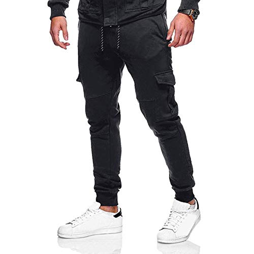 Kobay Hommes Les Pantalons De SurvêTement Pantalon DéContracté Sport éLastique à Poches Bouffantes(X-Large,Noir)