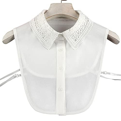 HYTM Collar Falso Camisa Mujeres Falsas Collar Femenina Camisa sólida Blanco Hueco Falso Collar Damas Vestido de Cuello Desmontable Camisa de Solapa Decoracion (Color : 01)