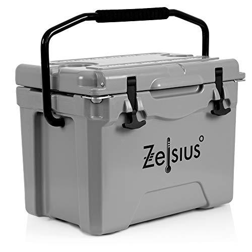 Zelsius Kühlbox 25 Liter   Coolbox   Tragbare Cooling Box ideal für Auto Camping Urlaub Angeln Freizeit Outdoor   Thermobox für Warm und Kalt (grau)