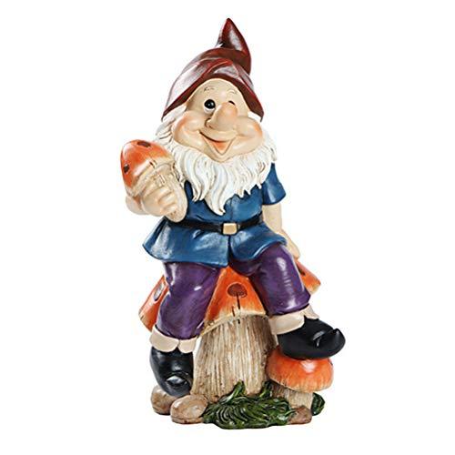 YEKKU Garden Gnome Statue, Elf Garden Ornament Color Creative Doll Mode Funny Lawn Statue Christmas Decoration for Outdoor Terraces Gardens Porches