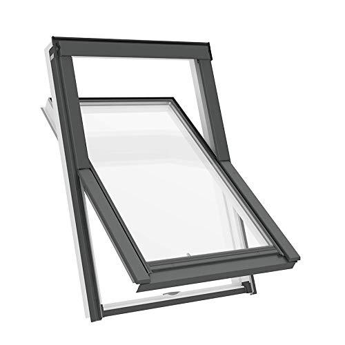 Solstro APX B700 Dachfenster, weißes PVC, kombiniert mit Universal-Eindeckrahmen - C4A, 55 x 98 cm