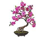 kunstpflanzen-discount.com Rosa blühender Bonsai Kunstbaum mit 50cm - künstlicher Bonsaibaum