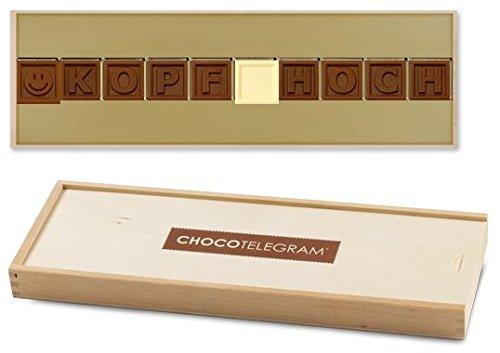 KOPF HOCH - Schokoladenbotschaft | Schokolade zum Trost | Geschenk | Gesundheit |süße Medizin | Mitgebsel | Gute Besserung zu wünschen | Schoko Krankenbesuch | Krankheit | Mann | Frau | Kind | Kinder