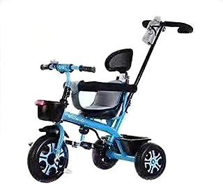 دراجة دراجة ثلاثية العجلات للأطفال مع شريط دفع للركوب على دراجة ثلاثية العجلات أزرق