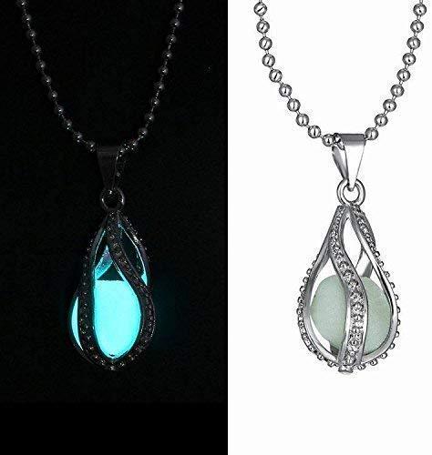 Collar de gota brillante en la oscuridad, diseño de huevo de dragón, sirena, brilla en la oscuridad, collar delicado, azul y verde, luz UV