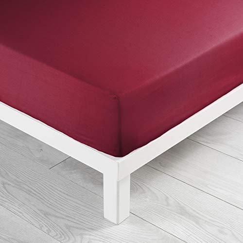 Douceur d'Intérieur, Lenzuolo ad angoli elasticizzati per letto singolo, 100% cotone, 57 fili/cm², extra morbido, 90 x 190 cm, Rosso (Mohnblume)