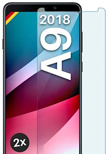 moex Panzerglas kompatibel mit Samsung Galaxy A9 (2018) - Schutzfolie aus Glas, bruchsichere Bildschirmschutz Folie, Crystal Clear Panzerglasfolie, 2X Stück