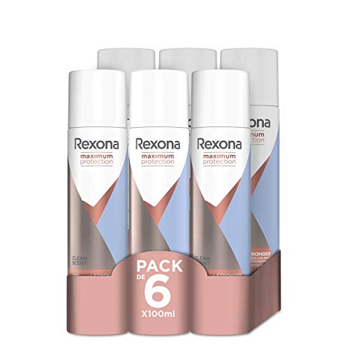 Rexona Maximum Protection- Desodorante Aerosol Antitranspirante Clean Scent- 6x100 ml
