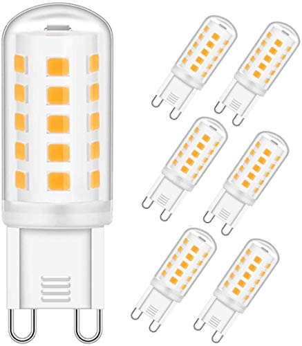 OHLGT Lampadina LED G9, Bianco Caldo 3000K, 3W Equivalente a 33W Lampada Alogena, Angolo di visione 360°, AC220-240V, Confezione da 6 [Classe di efficienza energetica A+]