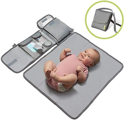 kiwicado kleine Wickeltasche Wickelset Wickelunterlage für unterwegs Babys Wickeln auf Reisen Wickeltisch (Mit Tragegurt)