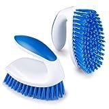 TOVOT Cepillos para limpiar la ducha, cerdas rígidas, cepillos de limpieza para uso doméstico, ducha de baño resistente, cepillo para limpiar ducha, baño, piso, tina, azulejos, cocina (2 unidades)