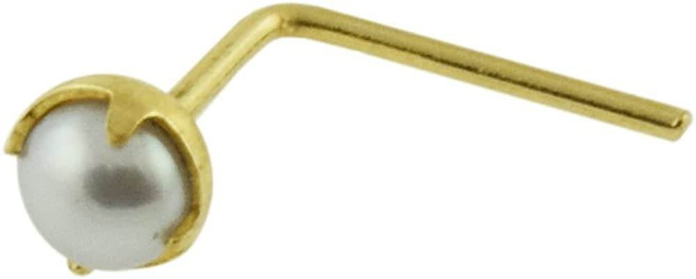 9K Solid Yellow Gold Claw Set 2MM Natural Pearl 22 Gauge L Bend Nose Stud Piercing Jewelry