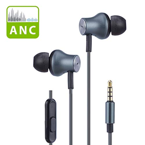 Avantree Active Noise Cancelling Earbuds with Microphone, Wired ANC Sound Canceling Earphones, Noise Reduction Isolating in Ear 3.5mm Headphones for Travel Airplane iPhone Cell Phones PC - ANC029