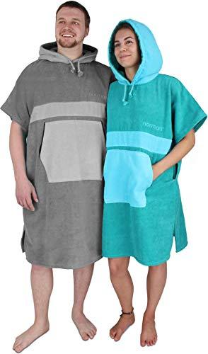 normani Unisex Handtuch-Poncho | Umzieh-Hilfe - Strand-Bademantel für Damen und Herren aus 100% Baumwoll Farbe Petrol/Türkis Größe L/XL