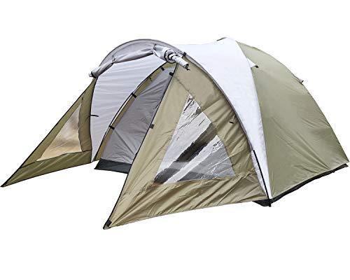 MECOREX® Kuppelzelt für 3-4 Personen 3-Jahreszeiten, Familien Campingzelt Wasserdichtes Igluzelt Doppelschicht mit Vorraum 210x210x135cm (grün)