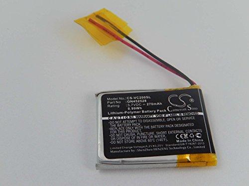 vhbw Li-Polymer Batterie 270mAh (3.7V) fpour GPS de Golf, Appareil de Navigation, télémètre Voice Caddie VC200, VC200 Voice comme GN452528.