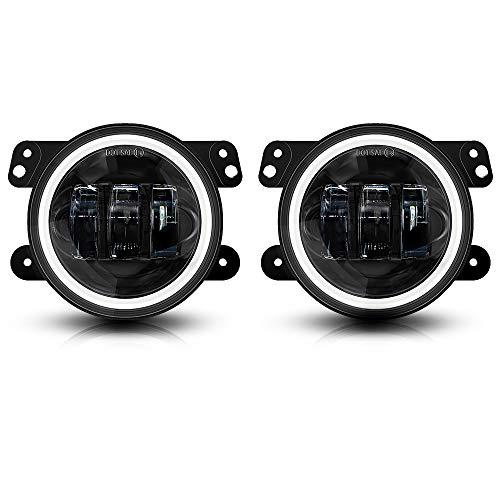 Galvor 4 Inch LED Fog Lights For Jeep Wrangler 07-18 JK JKU Tj LJ DRL White Halo Ring Amber Turn Signal Lights Round Black -Pair