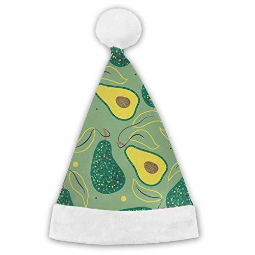 TYUO Sombreros de Pap Noel con patrn de aguacate, puos blancos, de felpa, para fiestas de Navidad, para adultos y nios