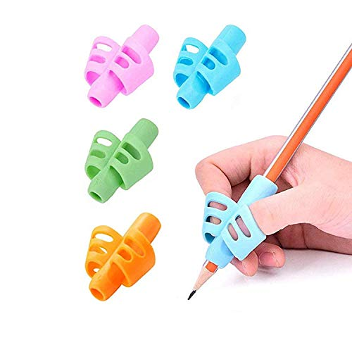 Pencil Grips,Grip Posture Correction Tool for Ballpoint Writing 8 Pieces Multicolor Soft Silicone Pencil Holder for Children 4 Colors