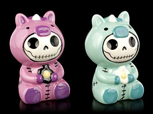 Furry-Bones Salz- und Pfeffer-Streuer-Set - Einhorn Uni | Deko-Artikel, handbemalt, H 9 cm, Keramik
