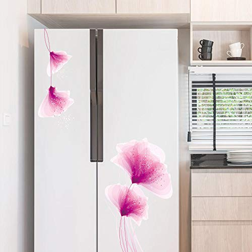 Creatieve paarse bloemen koelkast kast muur Stickers Tv achtergrond glas schuifdeur muur Stickers
