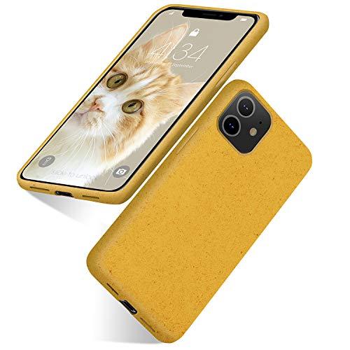 Funda biodegradable para iPhone 11, respetuosa con el medio ambiente, ultra delgada, funda protectora suave para iPhone 11 de 6.1 pulgadas (2019) (amarillo)
