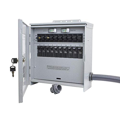 R510A Pro Tran2 Outdoor 50-Amp 10-Circuit 2 Manual Transfer Switch with CS6375 Power Inlet