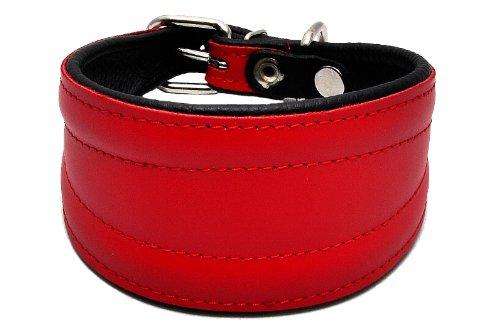 Zooleszcz – Collier en cuir véritable fait main pour lurcher/lévrier greyhound/lévrier whippet Rouge
