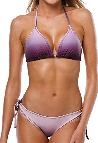 CharmLeaks Womens String Bikini Triangle Swimsuit Tie Side Swimwear Purple M