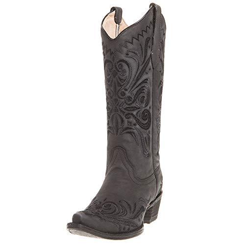 Circle G Women's Filigree Western Boot Snip Toe Black 6.5 M