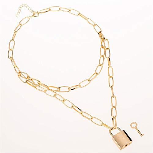 ZJJ Mehrschichtige Halskette Halskette Punk Vorhängeschloss Schlüsselanhänger Halskette Damen Mädchen gotische Partei Schmuck Urlaub, Geschenke (Metal Color : L001 Silver)