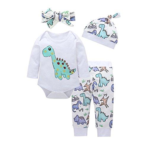 Mameluco Beb/é Ni/ño Invierno Mono de Reci/én Nacido Body con Manga Larga de Rayas con Dibujo de Dinosaur para Baby Boy 0-24 Meses