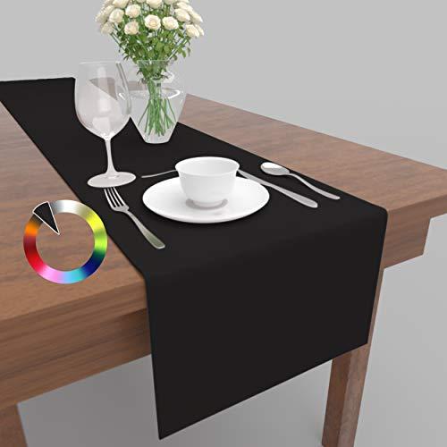 Rollmayer Hochwertiger Tischläufer Tischwäsche Uni einfarbig Pflegeleicht Kollektion Vivid, Farbe & Größe wählbar (Schwarz 34, 40x180cm)