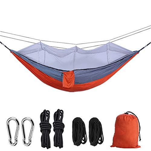 HLDUYIN Hamaca Portátil con Mosquitero Moda Ligera Y Duradera Paracaídas Hamaca Doble Camping Dormitorio Interior Doble Columpio,Rojo