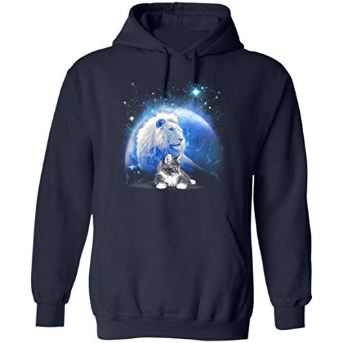 Believe in Yourself, You Wanna Be A Lion You BE A Lion Funny Cat Lover Hoodie (Navy,4XL)