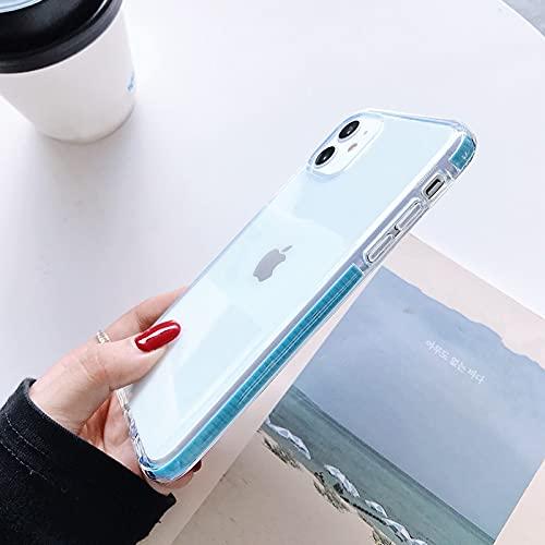 Custodia antiurto trasparente per iPhone 12 11 Pro Max 12 Mini XR XS Max 6 6S 7 8 Plus X SE 2020 Cover posteriore per telefono in TPU completamente morbida, WT, blu, per iPhone 6 PLUS