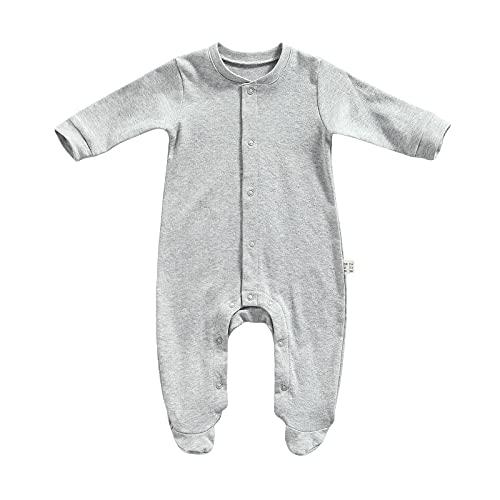 NQ Mameluco con patas para recién nacido, con manoplas, de algodón, para niños, gris, 6 mes