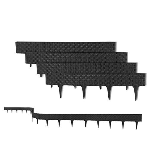 3,2 m Rasenkante mit 4 Elemente 81 cm - Biegbarer Kunststoff in Rattan-Design - Beeteinfassung, Beetumrandung, Palisaden - 20 cm hoch