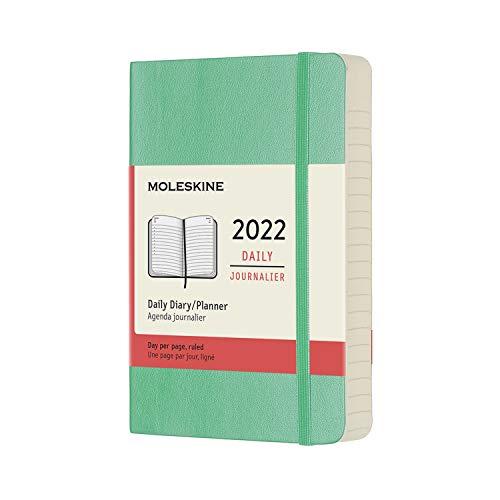 Moleskine - Agenda Giornaliera 12 Mesi 2022, con Copertina Morbida, Formato Pocket 9x14 cm, Colore Verde Ghiaccio