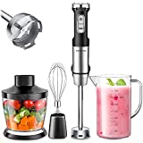 Immersion Blender, Elechomes Hand Blender, 800W Multi-Speed Handheld Blender with Stainless Steel, with 500ML Chopper, 800ML Beaker, Whisk for Smoothie, Baby Food, Sauces, Puree and Soup
