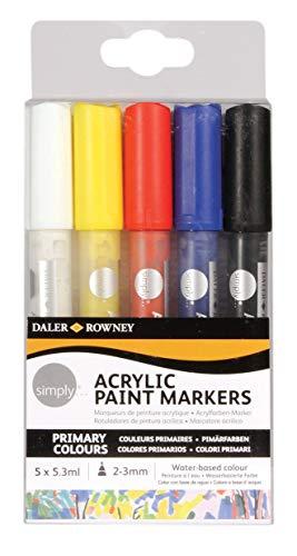 Simply Daler Rowney Lot de 5 marqueurs peinture acrylique Couleurs primaires assorties 5 x 5,3 ml