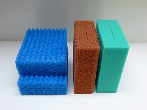 Steppan 4 Filterschwämme 2 x Blau gewellt 1 x Rot gewellt und 1 x Grün glatt passend für Oase Biotec 5.1. und Oase BioSmart 18000
