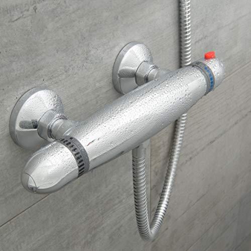 SCHÜTTE 52435 Supra Duschthermostat, Thermostatarmatur Dusche, Thermostat-Brausebatterie mit Sicherheitssperre, Mischbatterie Bad, Brausethermostat, Chrom
