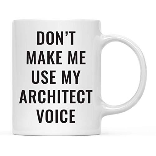 N\A Taza de café Taza de café Divertida No me Hagas Usar mi Voz de Arquitecto Incluye Caja de Regalo Ideas para Regalos de cumpleaños de Navidad Regalos para Mujeres Hombres