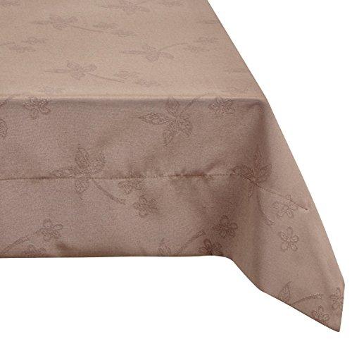 Comptoir du Linge CSI05012 Nappe Rectangulaire Tissu/Polyester/Coton/Téflon Taupe 250 x 150 cm
